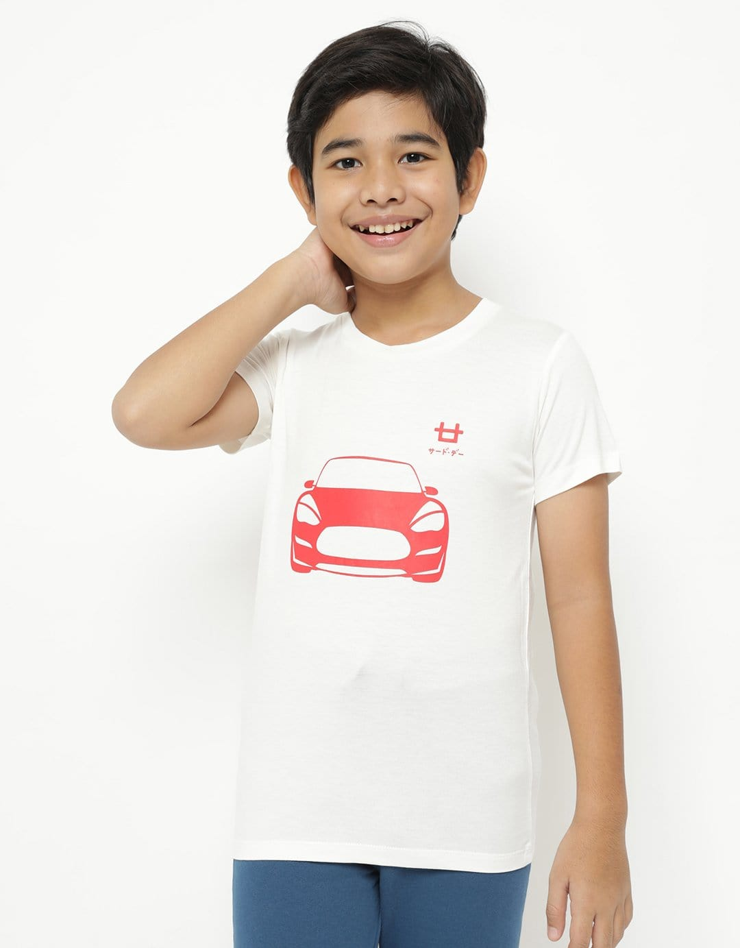 BT185 thirdday kaos anak red car putih