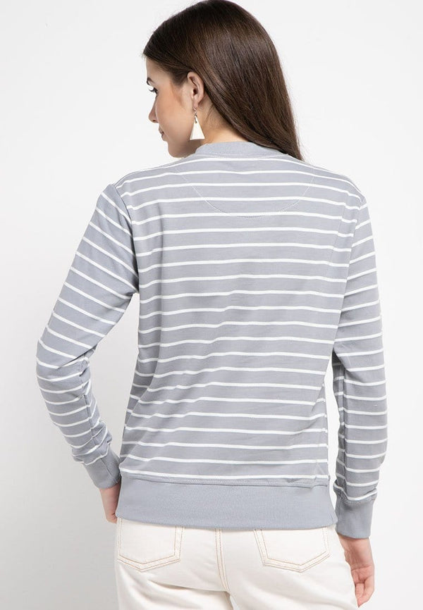 LO009 Thirdday sweater casual wanita dakir katakana stripe putih abu