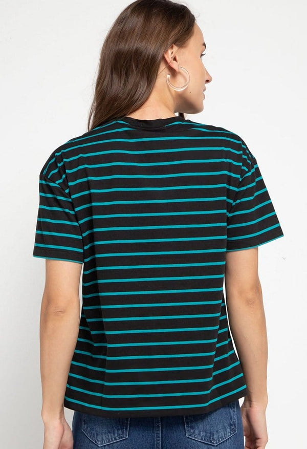 LTD47 thirdday stripe black blue dj rock dakir kaos casual wanita