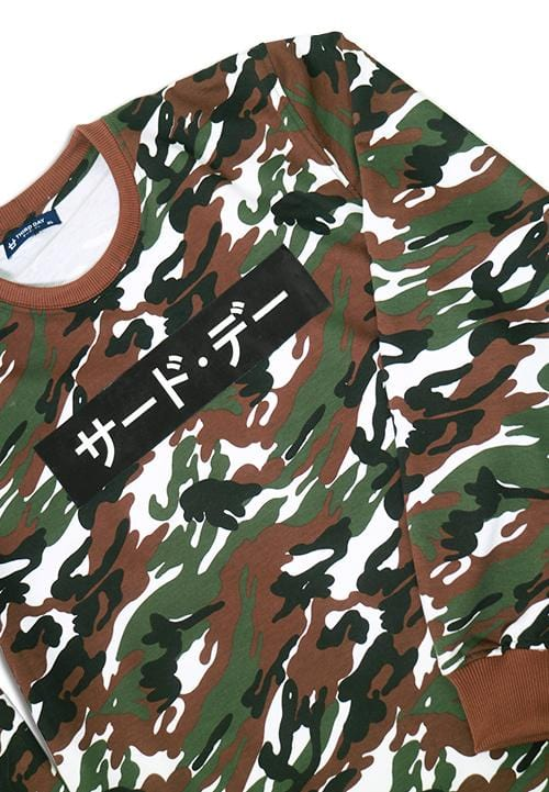 Third Day MO146F sweater INV katakana  camo gr-wh