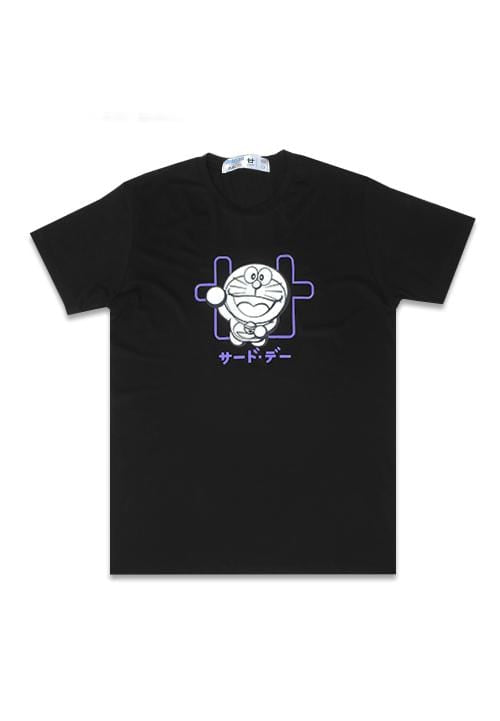 Third Day MTG24 doraemon outline logo hitam kaos pria