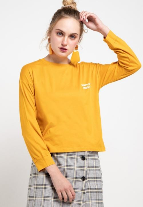 LTB59 LV simple does it mu T-shirt Mustard