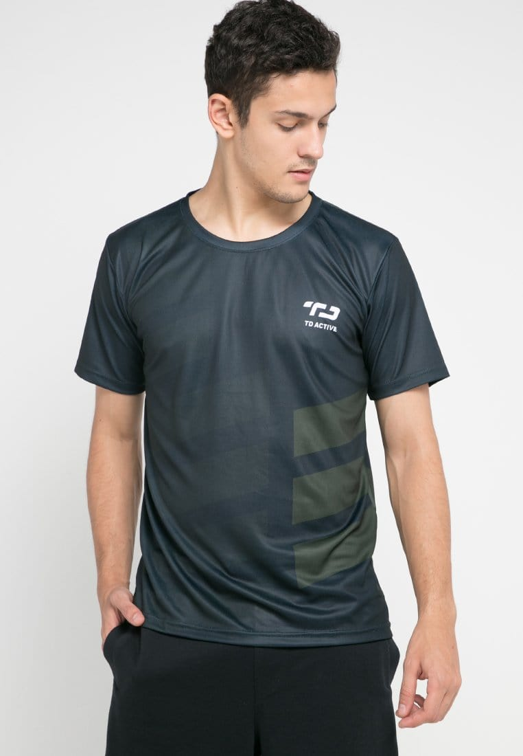 MS096 tdactive rib black green army running jersey