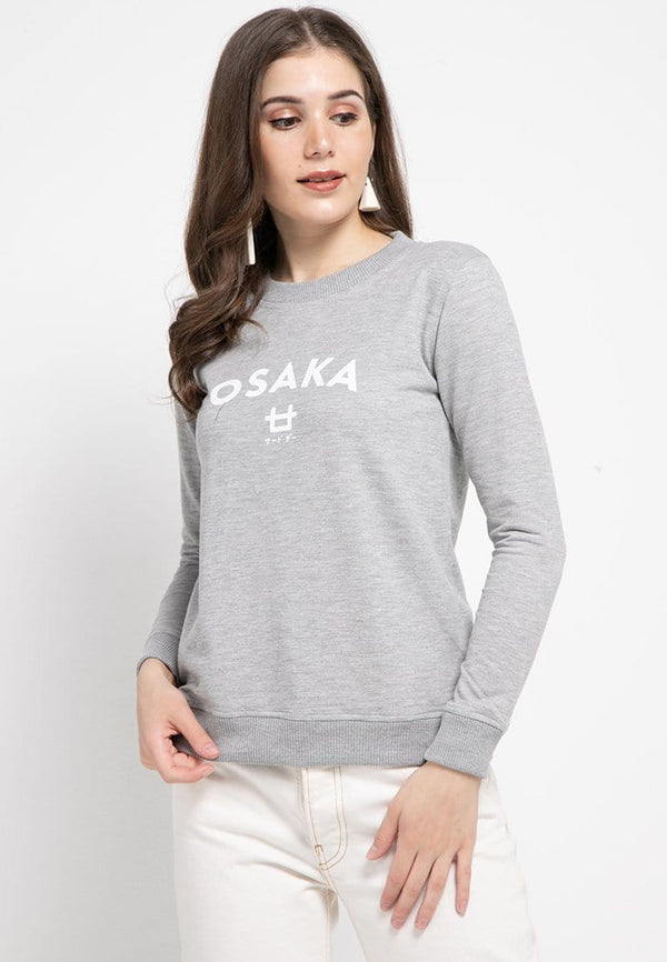 LO003 Thirdday sweater casual wanita dateng osaka logo abu