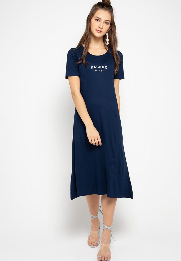 LTC42 xd daijiro navy dress midi