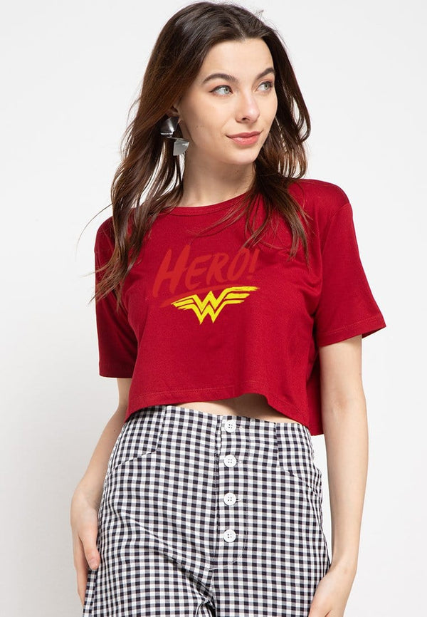 LTD11 thirdday CL Crop Loose Hero wonder woman kaos wanita maroon