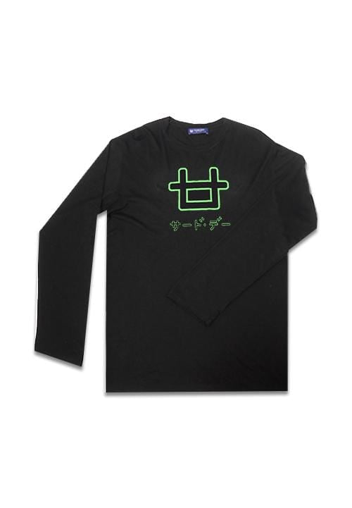 Third Day MTE96 long sleeve outline logo neon green blk Kaos Hitam