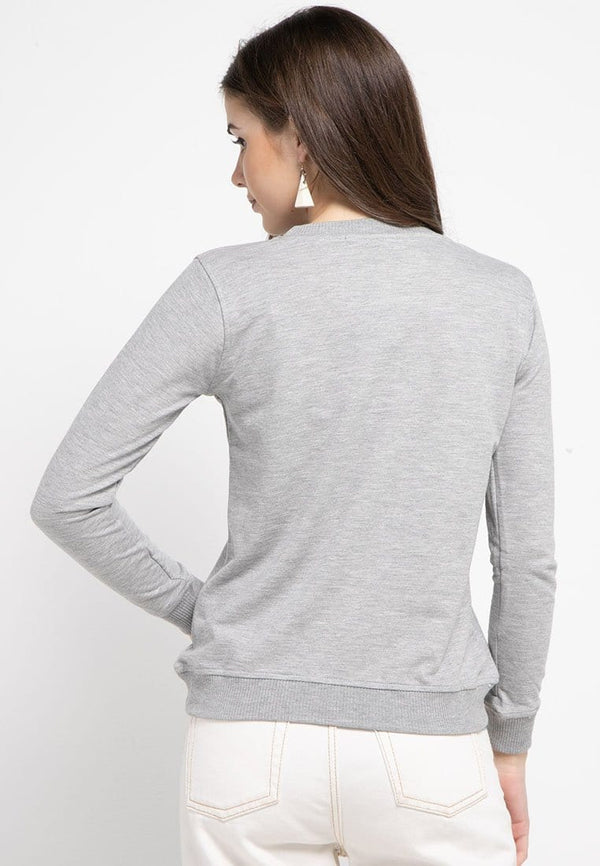 LO007 Thirdday sweater casual wanita dateng logo abu