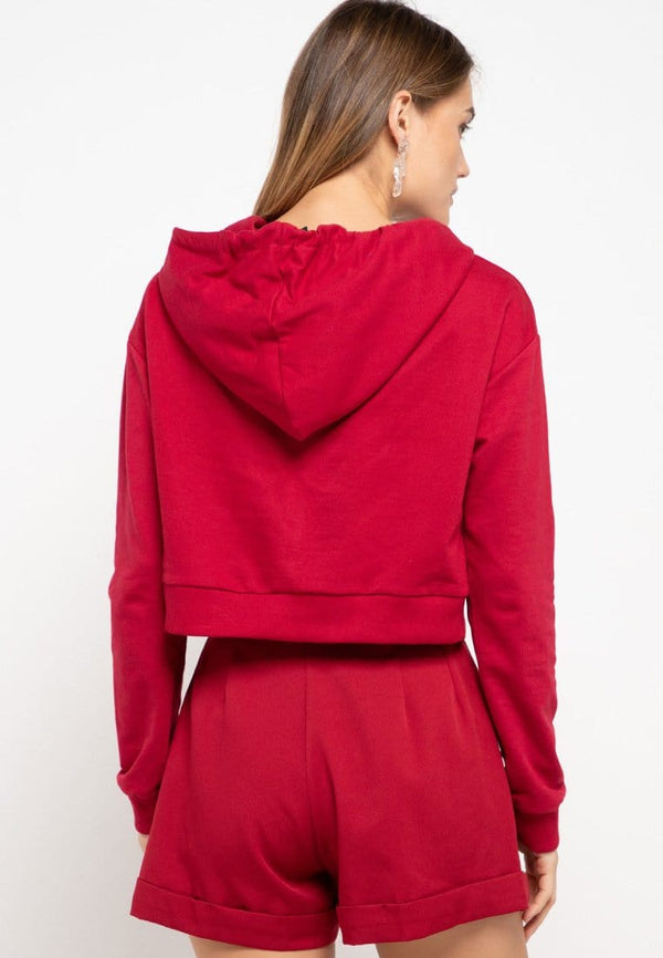 LMP023 pbch crop hoodie thdy sign square maroon