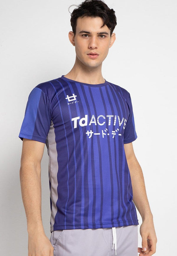 Third Day MS075 td active blue dark blue lines running jersey