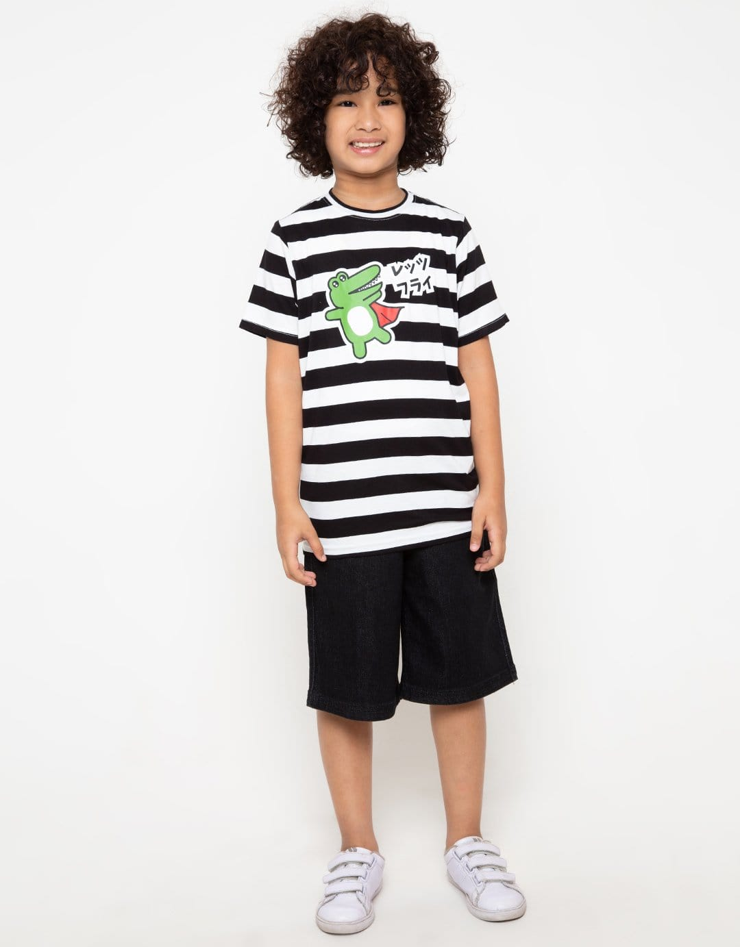 BT162 thirdday kaos anak draco superman stripe hitam putih