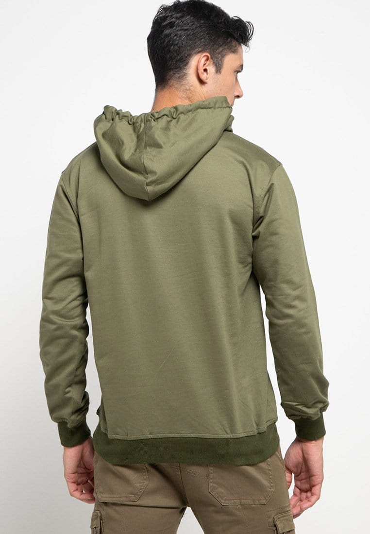 MO200 Thirdday hoodies casual pria ninja kick logo hijau army