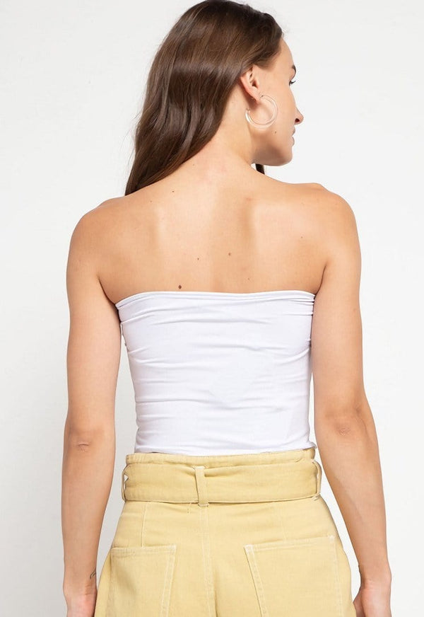LTD56 kemben tube top pendek putih thirdday
