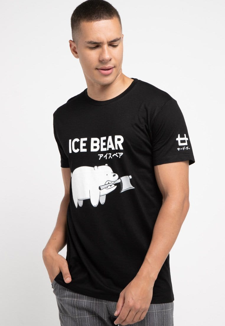 Third Day MTD79F ice bear mono we bare bear bk T-shirt hitam