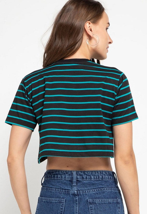 LTD53 thirdday CL Crop Loose stripe black blue dj rock dakir kaos casual wanita
