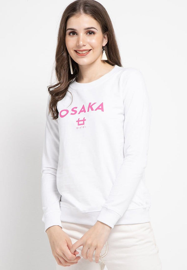 LO001 Thirdday sweater casual wanita dateng osaka logo putih