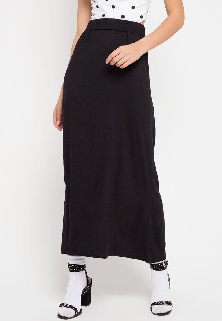FB004 Long Skirt nade black