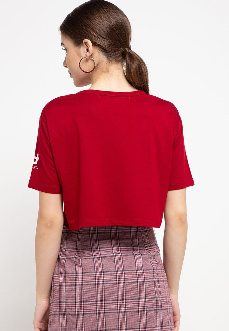 LTC81 cl crop top wbb crossing maroon