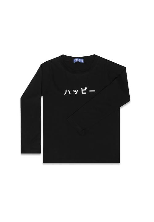 Third Day DT132 happy katakana black kaos balita lengan panjang