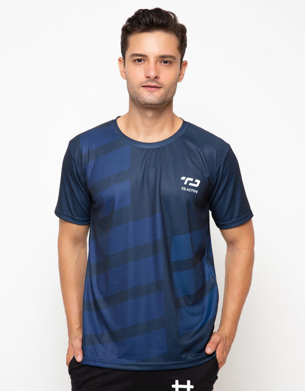 MS098 td active rib blue navy running jersey