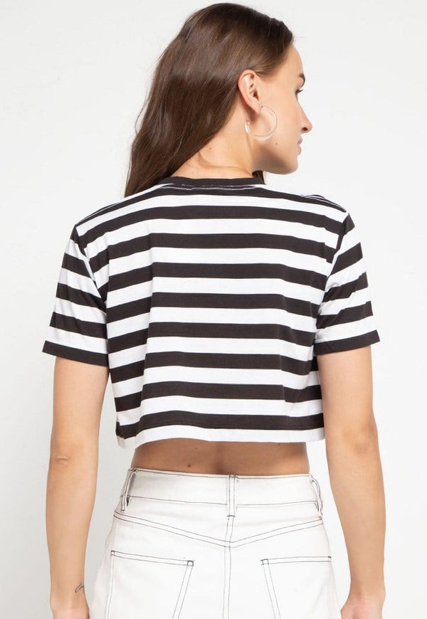 LTD50 thirdday CL Crop Loose stripe black white tido dakir kaos casual wanita