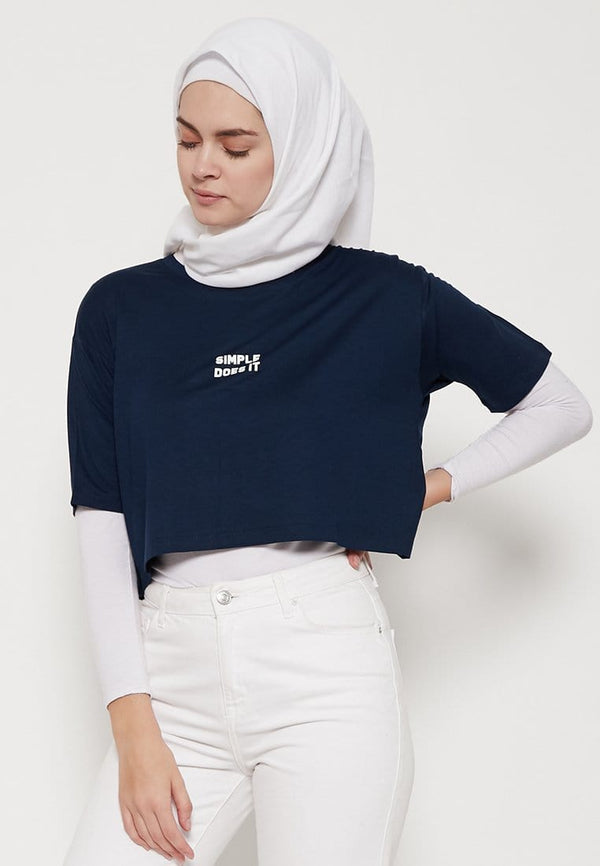 LTD20 OLC crop top loose simple does it navy