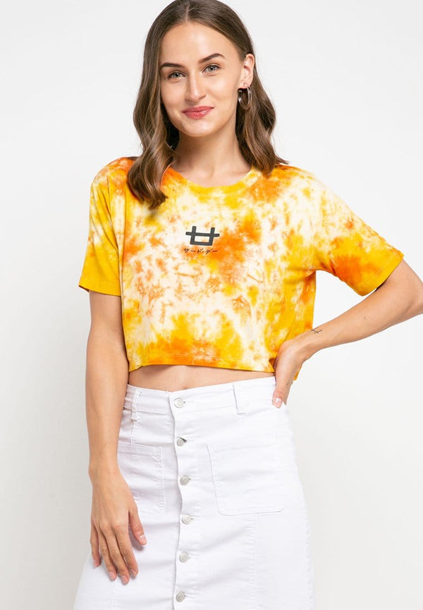 LTD34 thirdday OLC crop top tie dye yellow orange
