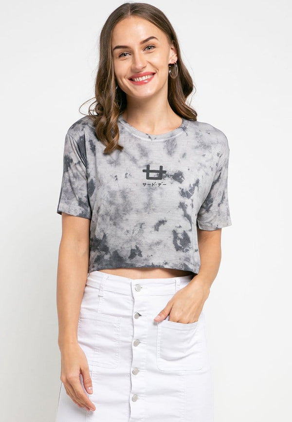 LTD36 thirdday OLC crop top tie dye white grey
