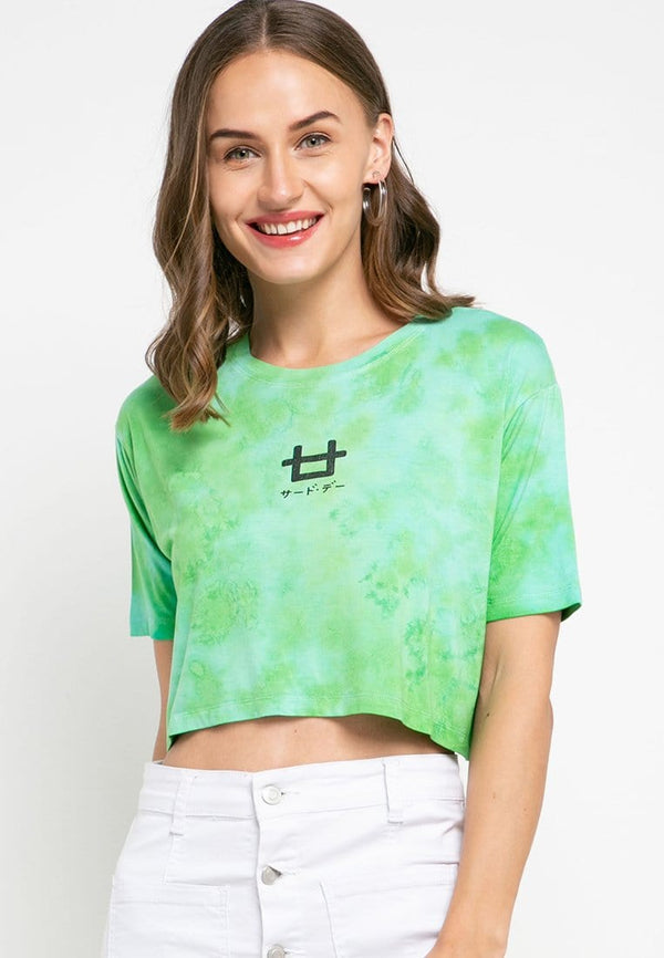 LTD38 thirdday OLC crop top tie dye green light blue