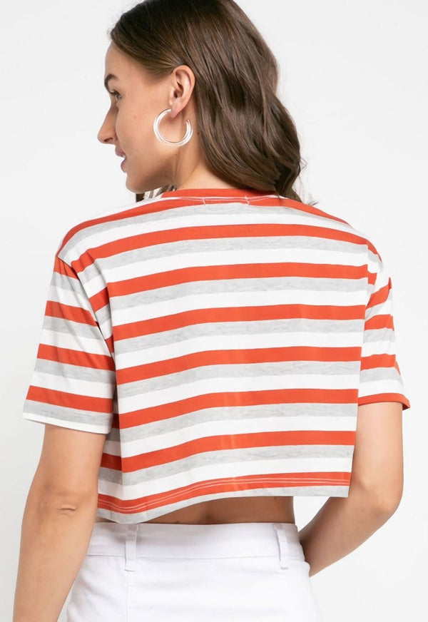LTD39 thirdday CL crop top stripe terracota grey white
