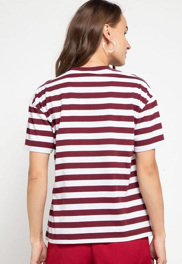 LTD46 thirdday stripe maroon white ninja dakir kaos casual wanita