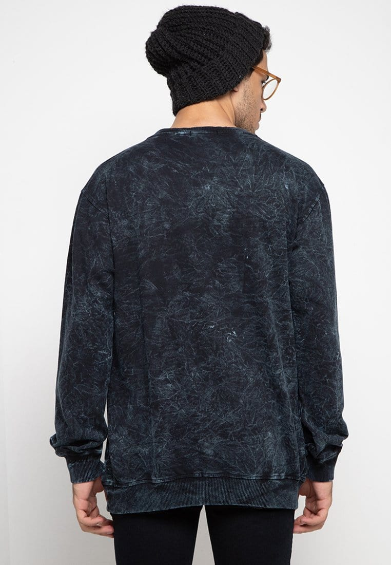 Third Day MO164 wash sweater katakana paragraph navy