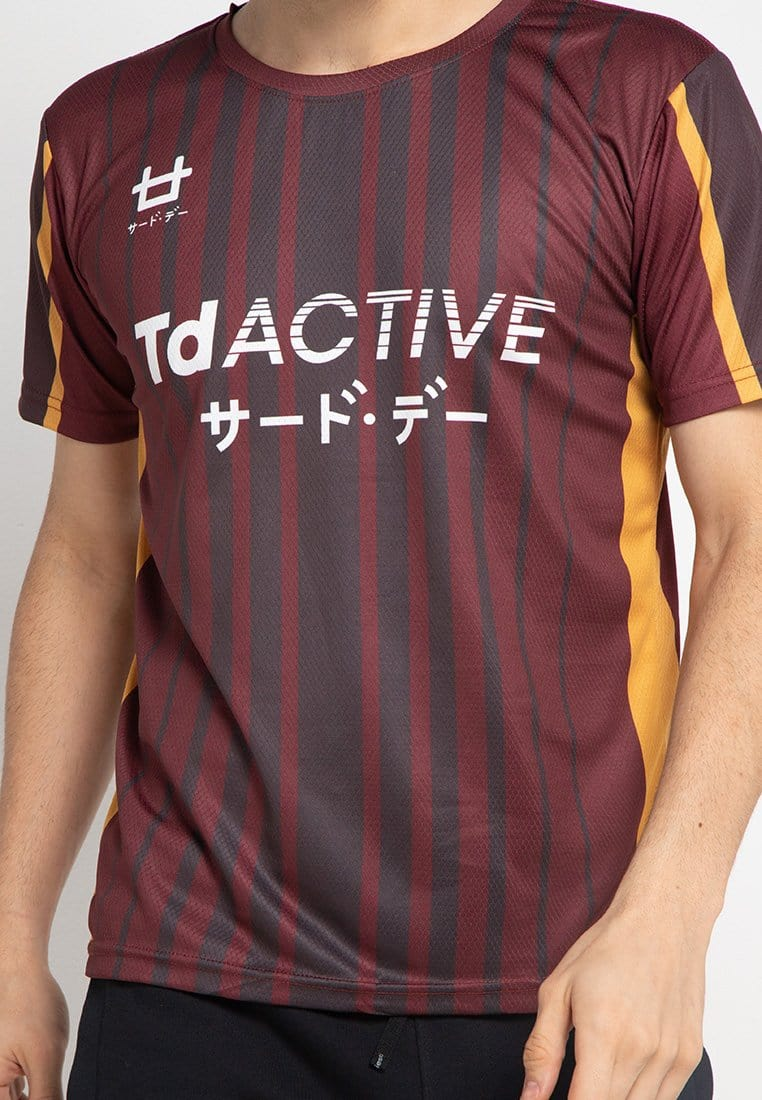 Third Day td active maroon gold ver lines running jersey