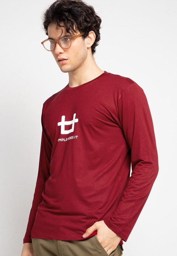 Third Day MTF57 ls logo simple does it kaos lengan panjang pria Maroon