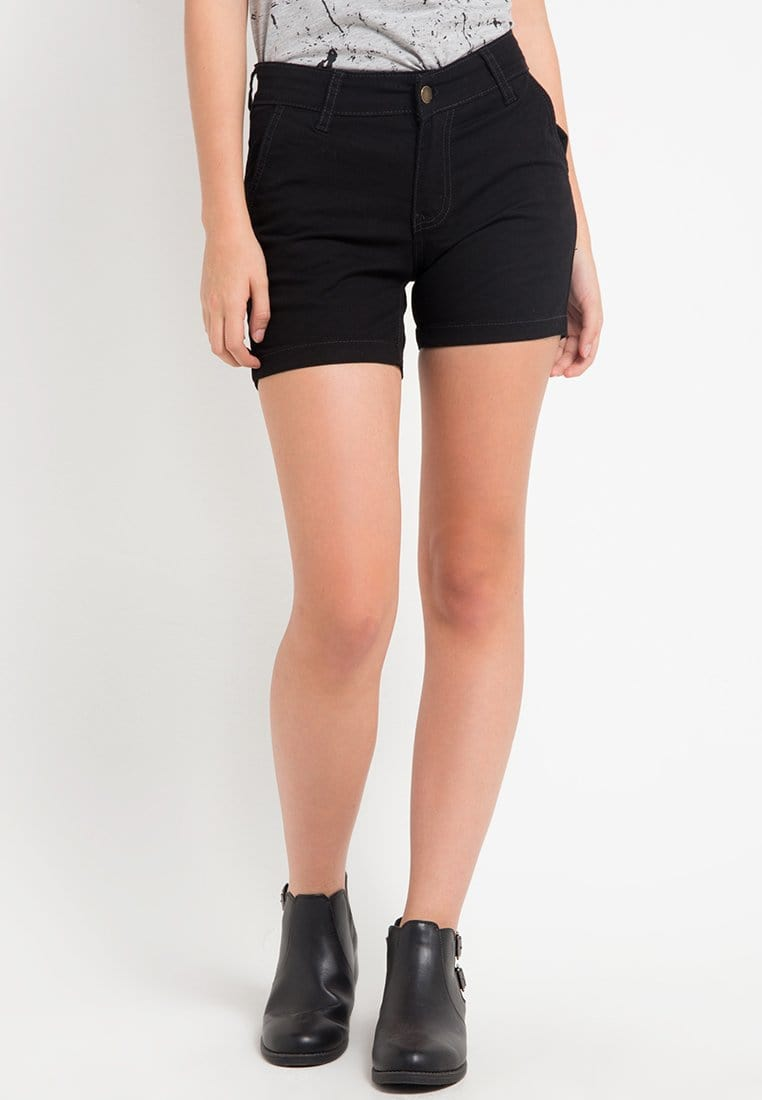 LB010i Ladies Hot Pants Black Plain