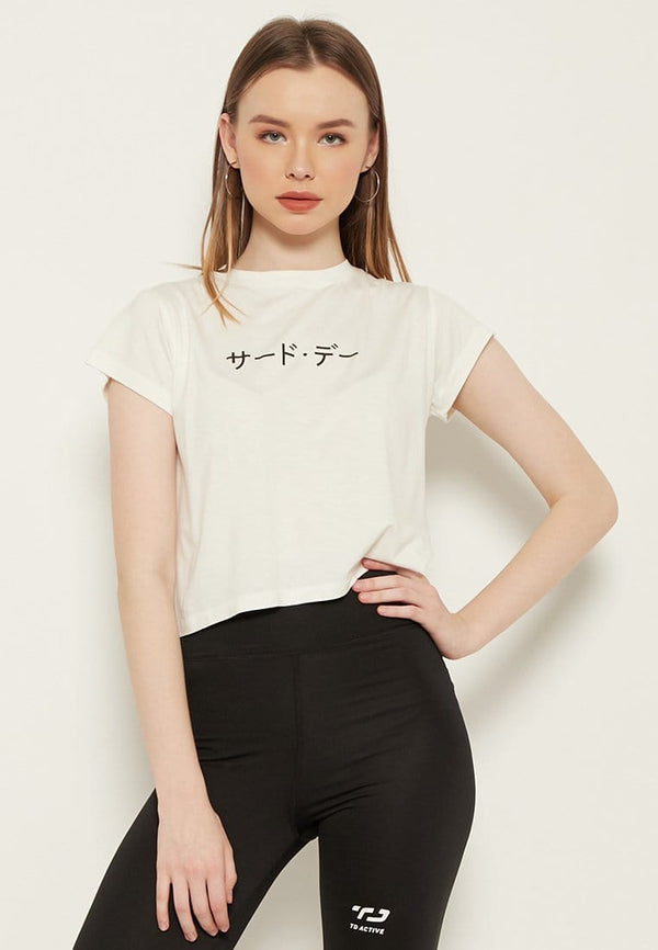 LTD16 RCP crop top katakana white