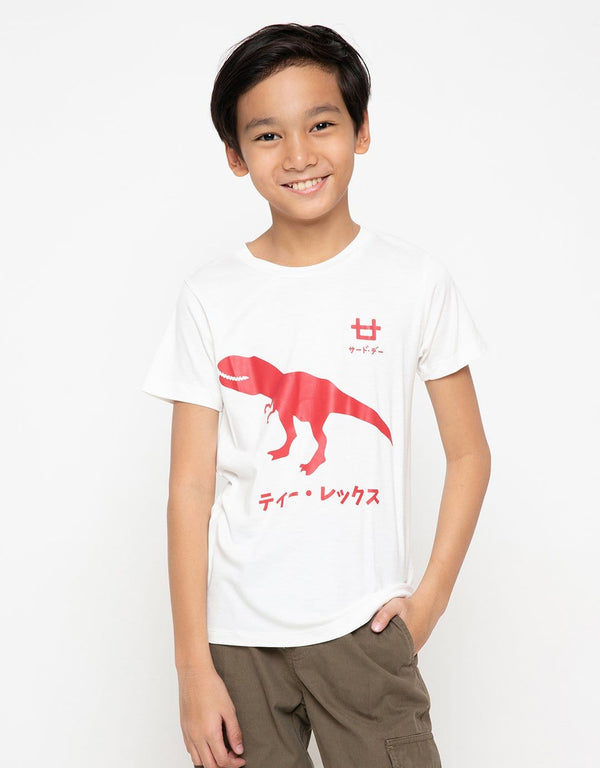 BT176 thirdday kaos anak tirex merah logo dakan putih