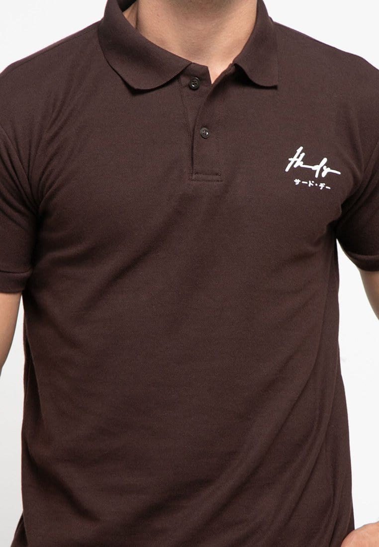 MTH07 thirdday polo casual pria thdy sign shirt brown