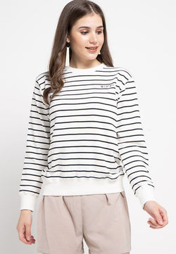 LO008 Thirdday sweater casual wanita dakir katakana stripe putih navy
