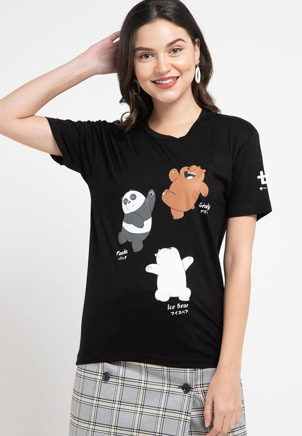 LTC89 thirdday kl wbb we bare bear dancing hitam kaos casual wanita