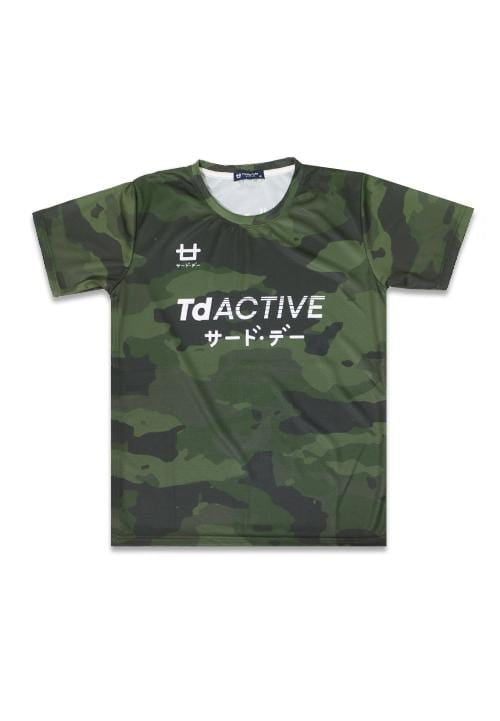 Third Day MS076 td active green camo running jersey