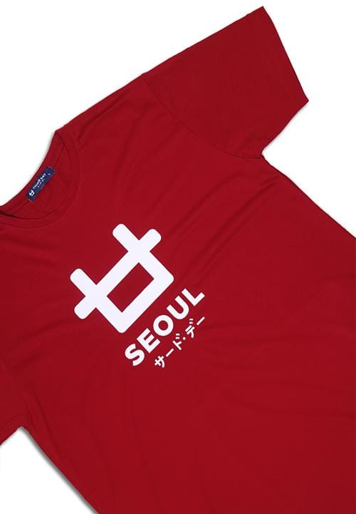 Third Day MTE64 logo seoul mr T-shirt Merah