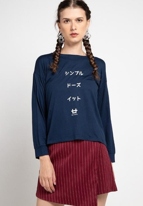 LTC38 lv paragraph japan navy kaos hijab ladies