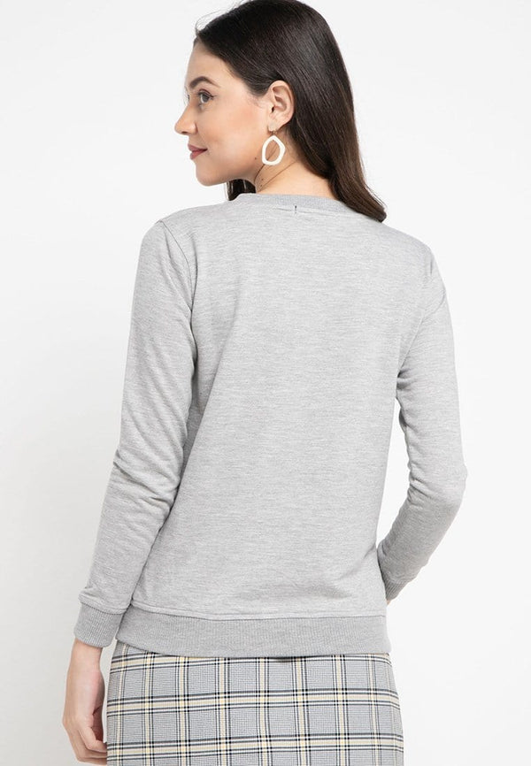 LO002 Thirdday sweater casual wanita td simple abu