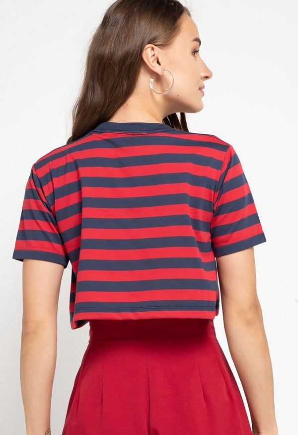 LTD49 thirdday CL Crop Loose stripe black red hazi genius dakir kaos casual wanita