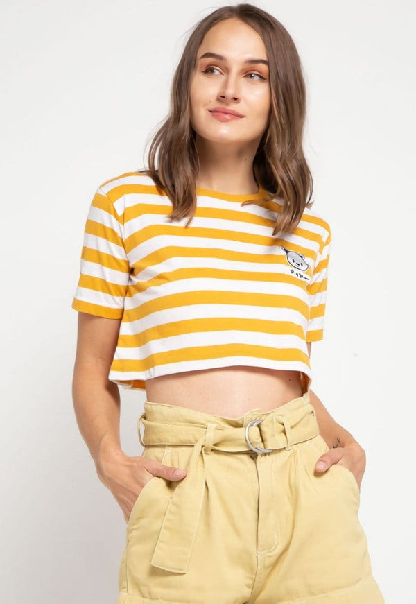LTD51 thirdday CL Crop Loose stripe mustard white tido dakir kaos casual wanita