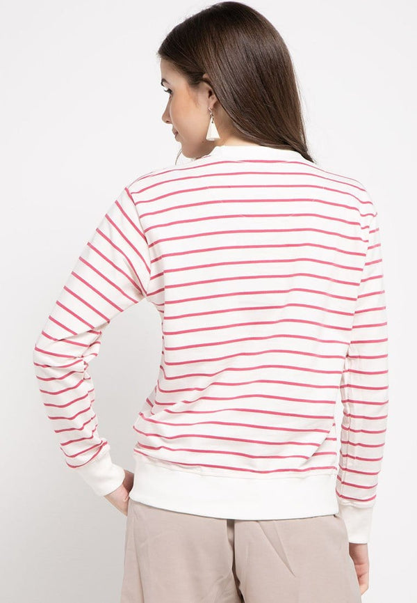 LO010 Thirdday sweater casual wanita dakir katakana putih pink