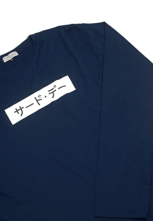 MTC90B l-s long sleeve invert katakana nv T-shirt Navy