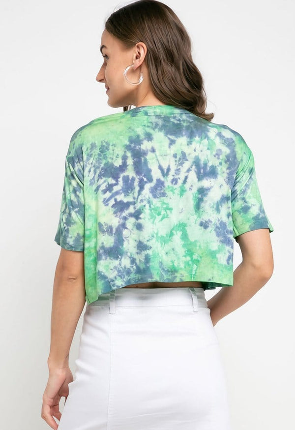 LTD37 thirdday OLC crop top tie dye green purple