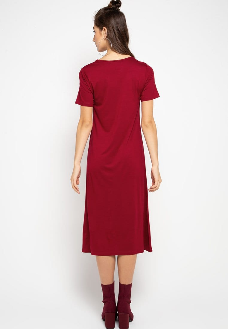 LTC49 xd happy katakana maroon dress midi